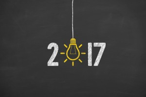 New Year 2017 Idea Concept on Chalkboard Background