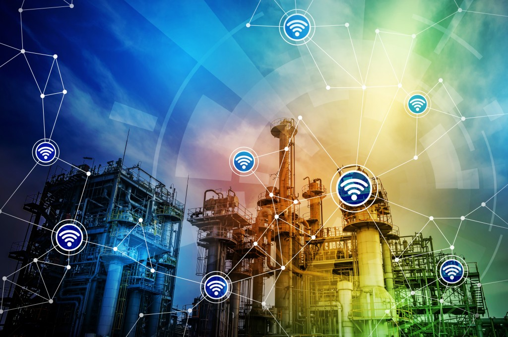 modern factory building and wireless communication network