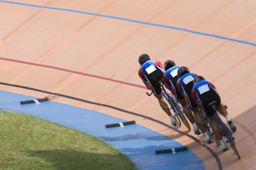 Line of bicycle riders on a race