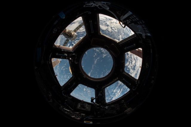 international space station window view