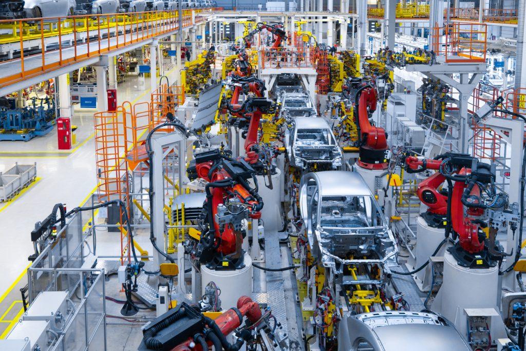 Automotive production line Welding car body. Modern car Assembly plant