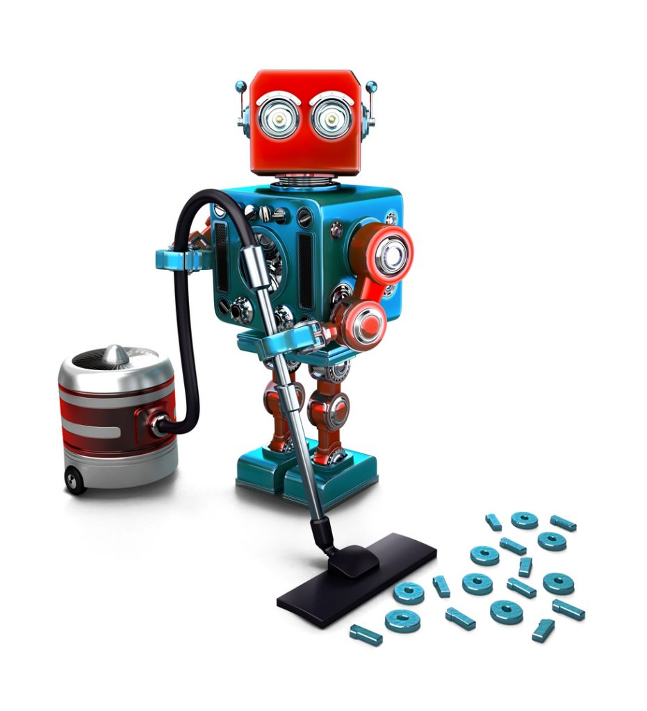 Concept of a Robot that vacuums digits on the floor. 3D illustration. Isolated. Contains clipping path