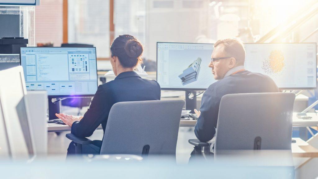 engineers working in office