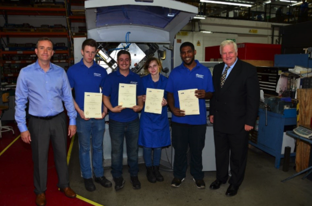 Local MP Bob Stewart presenting our first batch of apprentices with their certificates