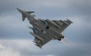 """HAMPSHIRE, UK - JULY, 2016: The Eurofighter """"Typhoon"""" with full afterburners . July 16, 2016 Hampshire, England"""