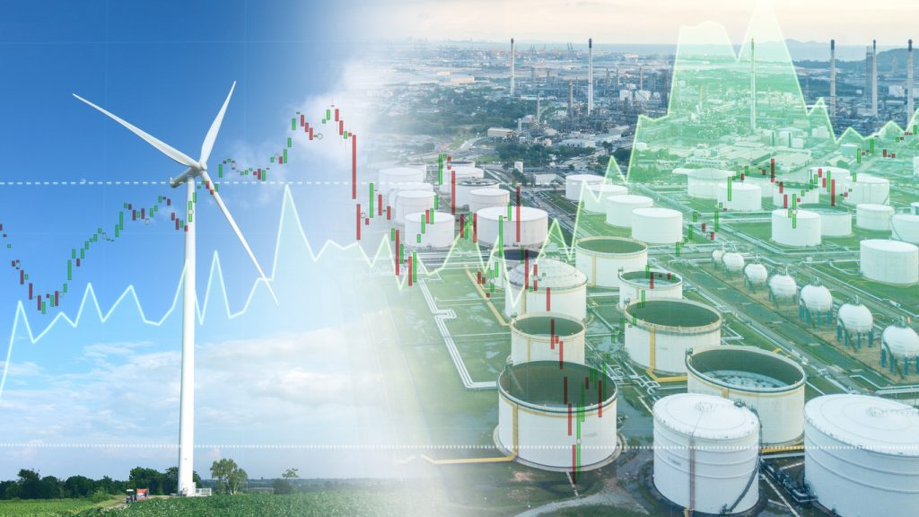 double exposure wind turbine and oil refinery investment stock graph concept.